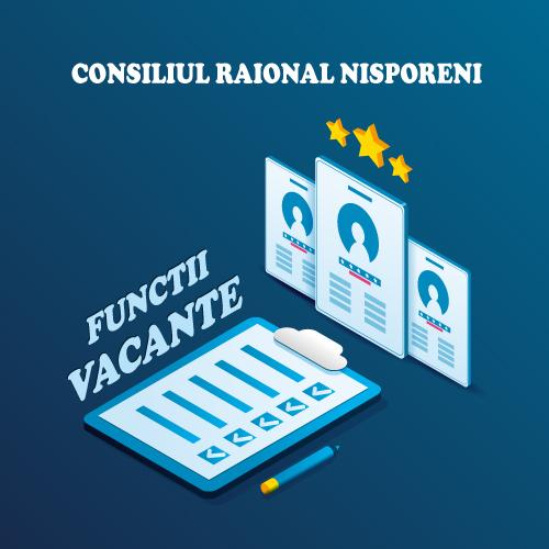 Consiliul raional Nisporeni anunță concurs repetat la funcțiile următoare!