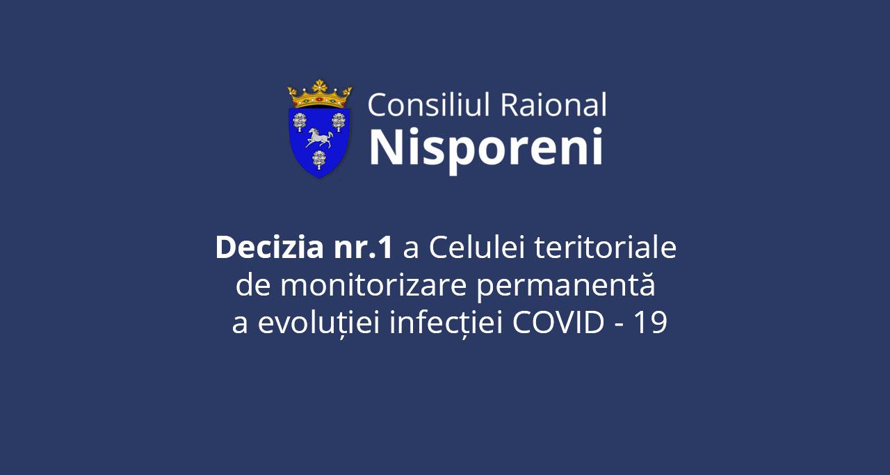 DECIZIA nr.1 a Celulei teritoriale de monitorizare permanentă a evoluției infecției COVID -19