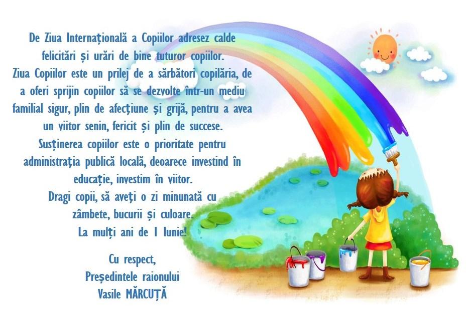 Mesajul de felicitare a președintelui raionului cu prilejul Zilei Internaționale a Copiilor.